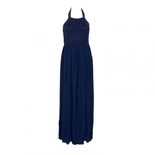 Navy Pleated Halter Dress -